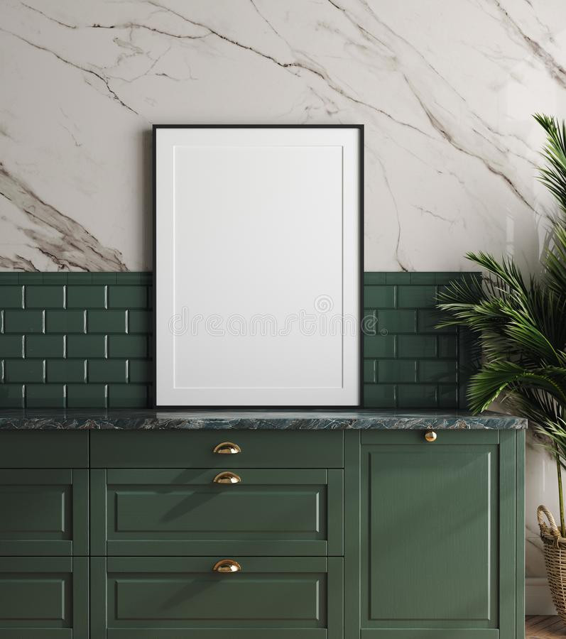 Mockup frame in dark green kitchen with marble wall. 3d render vector illustration