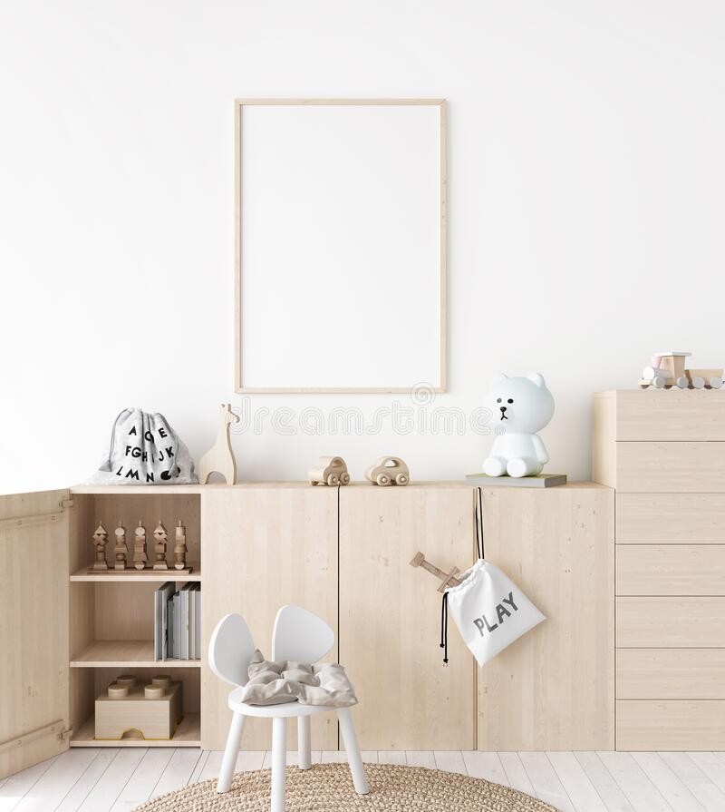 Free Mockup Frame In Minimal Unisex Child Bedroom With Natural Wooden Furniture Royalty Free Stock Photos - 196334688