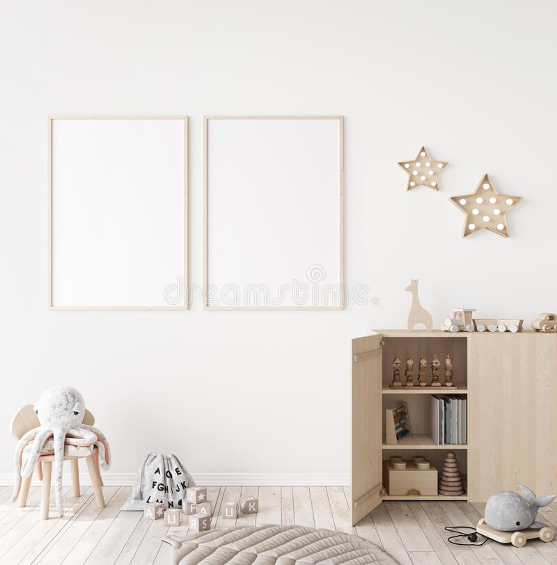 Free Mockup Frame In Minimal Unisex Child Bedroom With Natural Wooden Furniture Royalty Free Stock Photo - 196334725