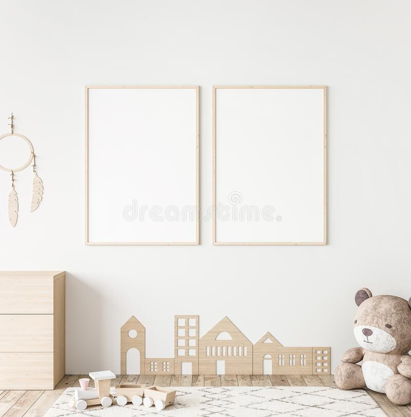 Free Mockup Frame In Minimal Unisex Child Bedroom With Natural Wooden Furniture Stock Image - 196348101
