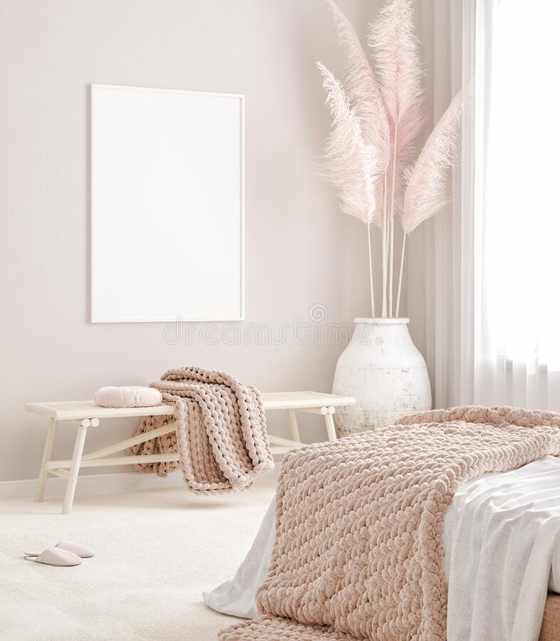 Free Mockup Frame In Pastel Pink Bedroom Interior Background, Scandi-Boho Style Royalty Free Stock Photos - 197149118