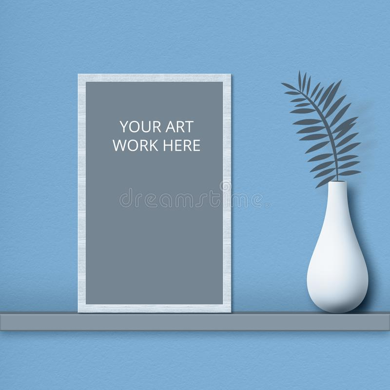 Mockup frame for your art work on shelf near vase with plant isolated over blue background. Horizontal shot. Copy space for your stock images