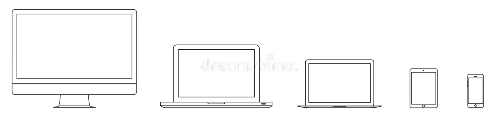 Mockup gadget and device outline icons set on the white background. stock vector illustration eps10 stock illustration