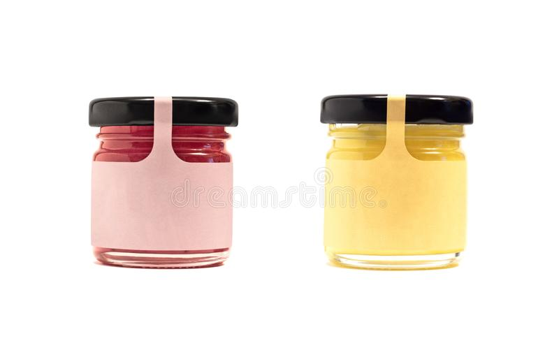 Jars with honey, jam or other preserved product stock photos