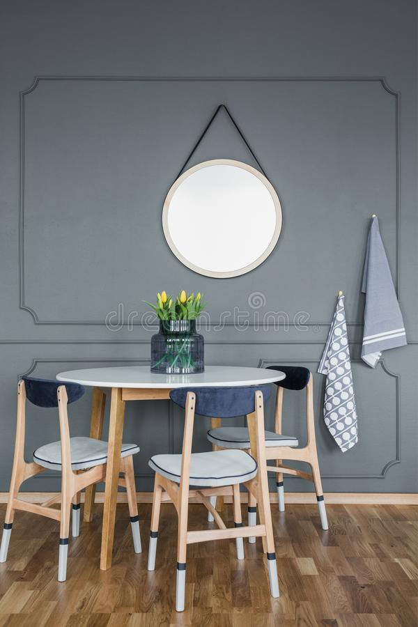 Mockup in grey dining room royalty free stock photo