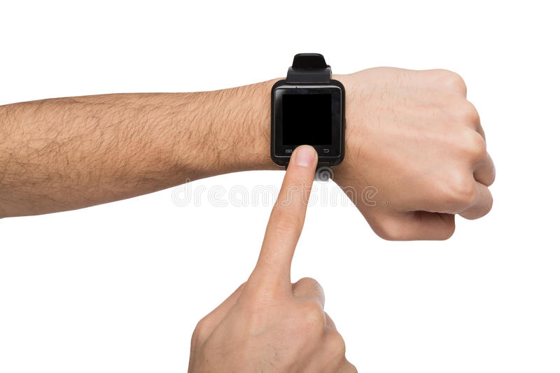 Mockup of hand wearing smart watch, cutout. Isolated male hand with smart watch with blank screen, white background cutout. Smartwatch - modern digital gadget stock image