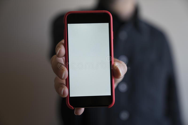 Mockup hands red color phone mock up screen holding display blank white. Mockup hands phone mock up screen holding display blank white royalty free stock images