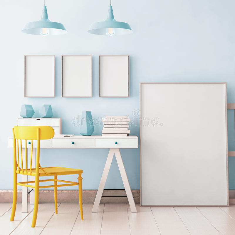 Mockup in hipster style workspace. trend color. royalty free stock photos