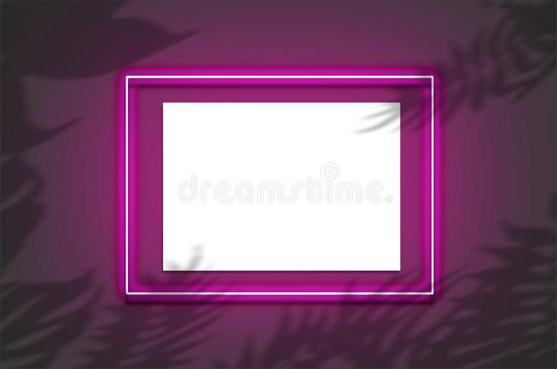 Mockup horizontal poster in a neon frame with a pink glow. Scene with tropical overlay palm shadows with free space inside. Mockup horizontal poster in a neon royalty free stock photography
