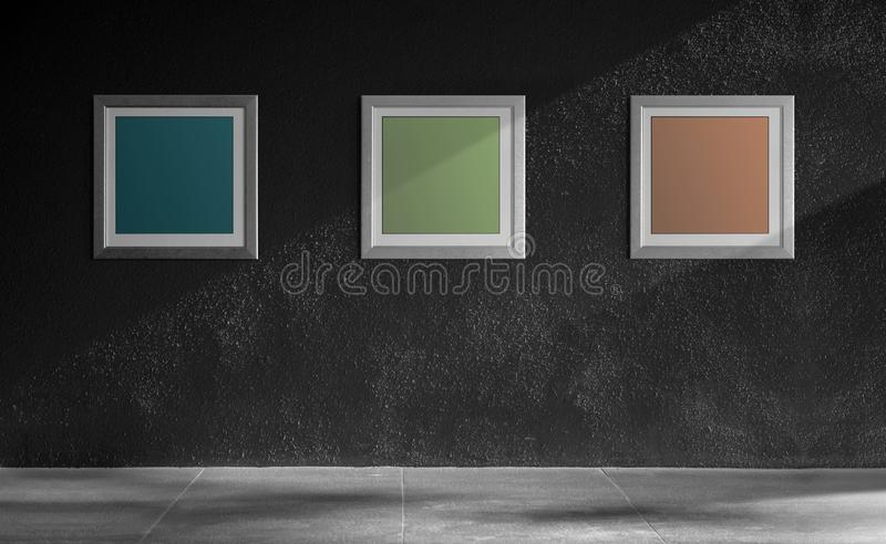 Mockup Image of Photo Frames on the Dark Wall. Included Clipping Path for Mock-up. Outdoor Scene. With shade of Natural Sunlight royalty free stock photography