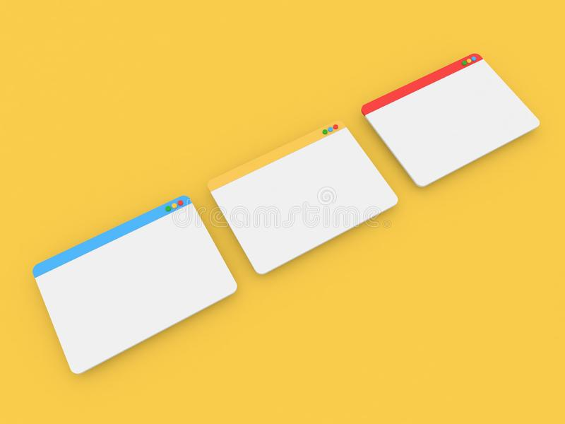 Mockup of internet web site interface on a yellow background. 3d render illustration vector illustration