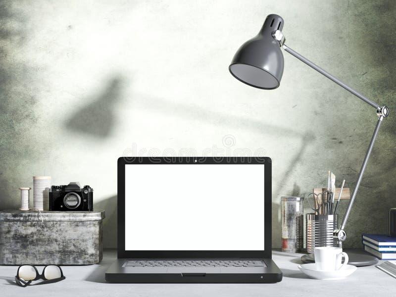 Mockup laptop na biurku w żywym izbowym tle workspace z pustego ekranu laptopem ilustracja wektor