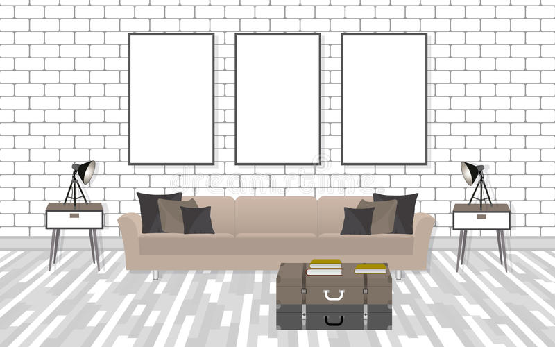 Mockup living room interior in hipster style with frames, sofa, lamps and white brick wall. royalty free illustration