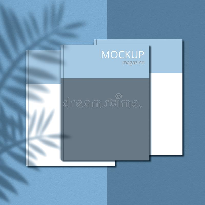Mockup magazine against light blue background with shadow of branches. Cover page. Blank copy space for your promotional content stock photo