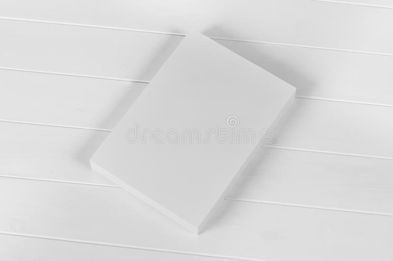 Mockup magazine, poster, brochure or flyer isolated on white background stock photos