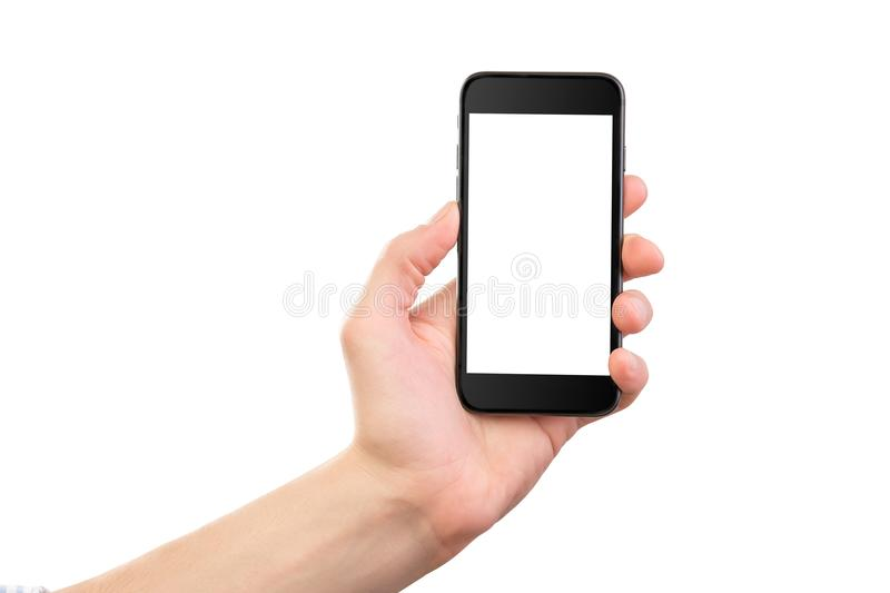 Mockup of male hand holding black cell phone. Mockup of male hand holding black frameless cell phone with black screen isolated at white background royalty free stock photography