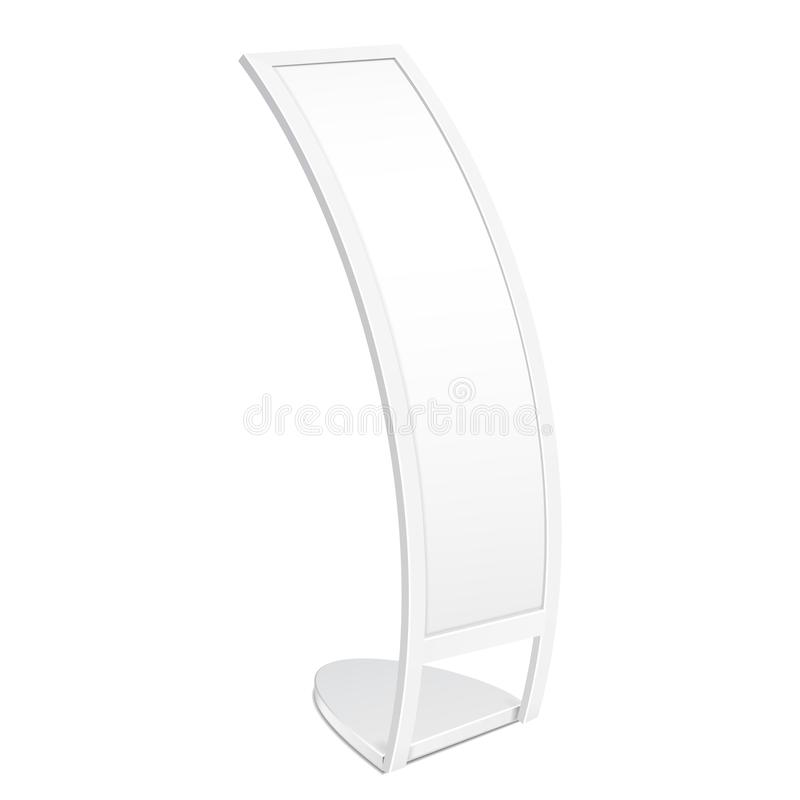 Mockup, Mock Up Poster Stand For Floor C-shaped Curve Outdoor Indoor Stander Banner Shield Display. Isolated royalty free illustration