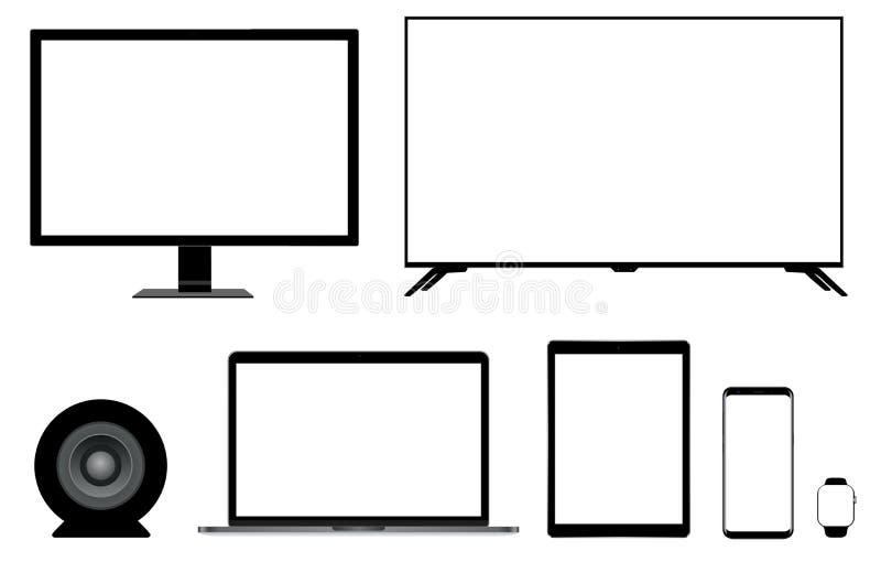 Mockup monitorów laptopu pastylki telefonu smartwatch ustalony realistyczny mówca royalty ilustracja