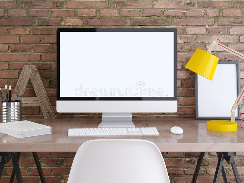 Mockup monitor na stole z plakatami na ściana z cegieł ilustracji