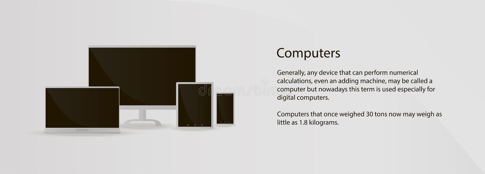 Mockup multiple devices computer, laptop, tablet, smartphone on grey background for site royalty free illustration