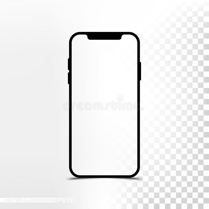Mockup new version Smartphone with transparent screen and background royalty free illustration