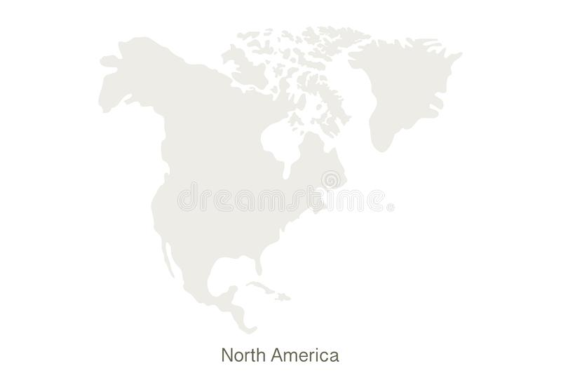 Mockup of North America map on a white background. Vector illustration template stock illustration