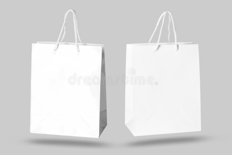 Mockup of paper shopping bag. Isolated on Gray background royalty free stock photo