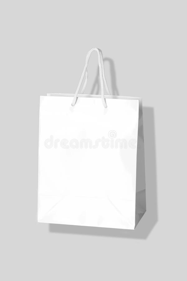 Mockup of paper shopping bag isolated on Gray background royalty free stock photos