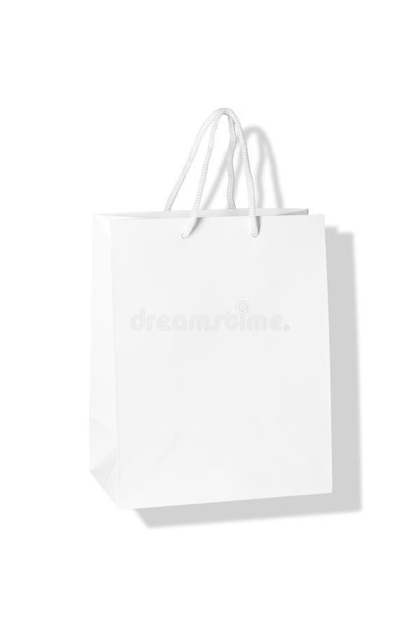 Mockup of paper shopping bag isolated on White background stock photos