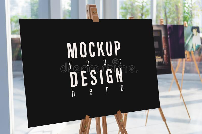 Mockup picture or photo canvas frame with blur picture gallery background for your advertisement. Advertising, art, artwork, banner, billboard, black, blank royalty free stock images