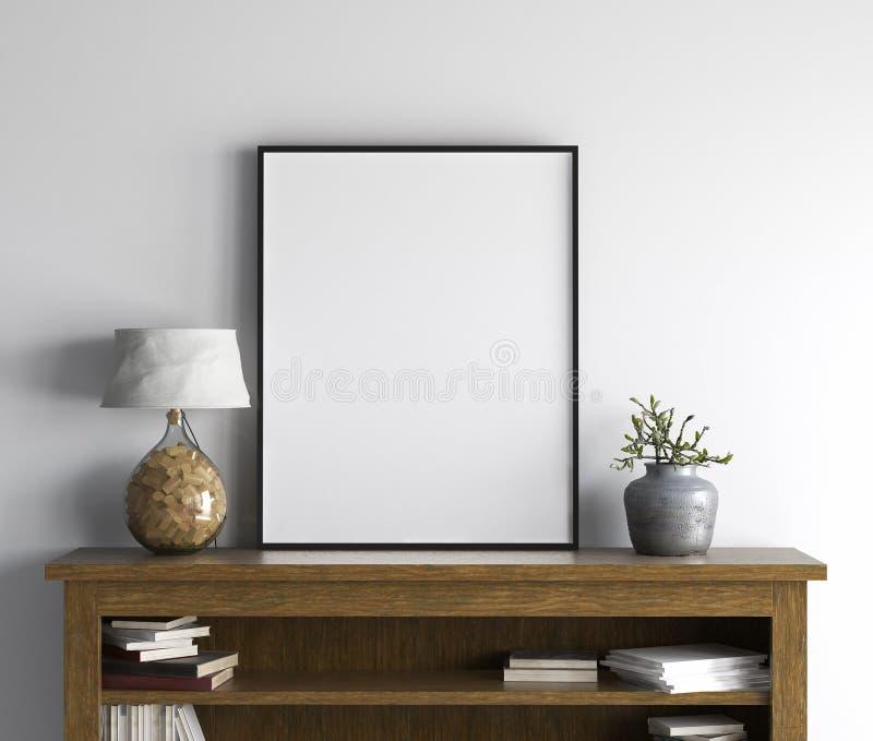 Mockup plakat w żywym izbowym wnętrzu, skandynawa styl ilustracji