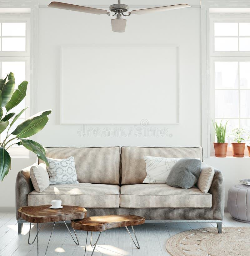 Mockup plakat w modnisia żywym izbowym wnętrzu ilustracja wektor