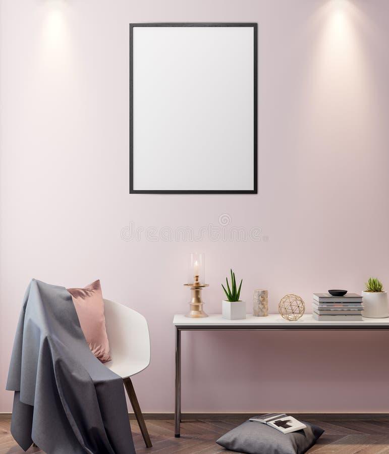 Mockup plakat w wnętrzu, 3D nowożytny projekt ilustracja fotografia stock