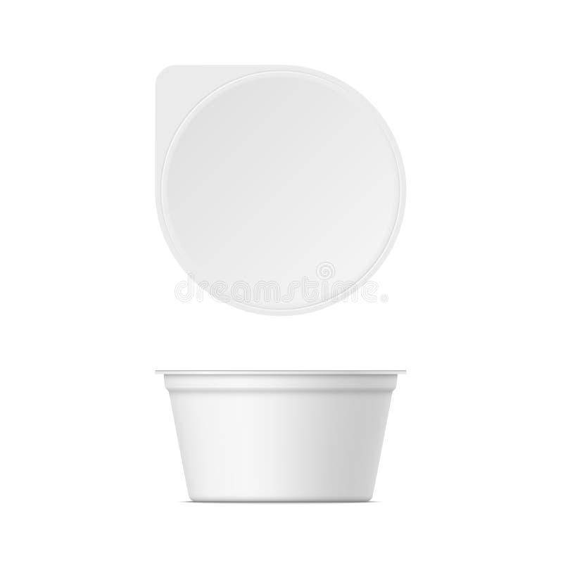 Mockup plastikowy jogurtu zbiornik z deklem zdjęcia stock