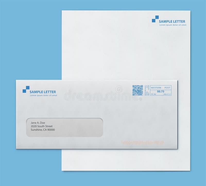 Mockup poczta koperta i listowego papieru szablon ilustracji