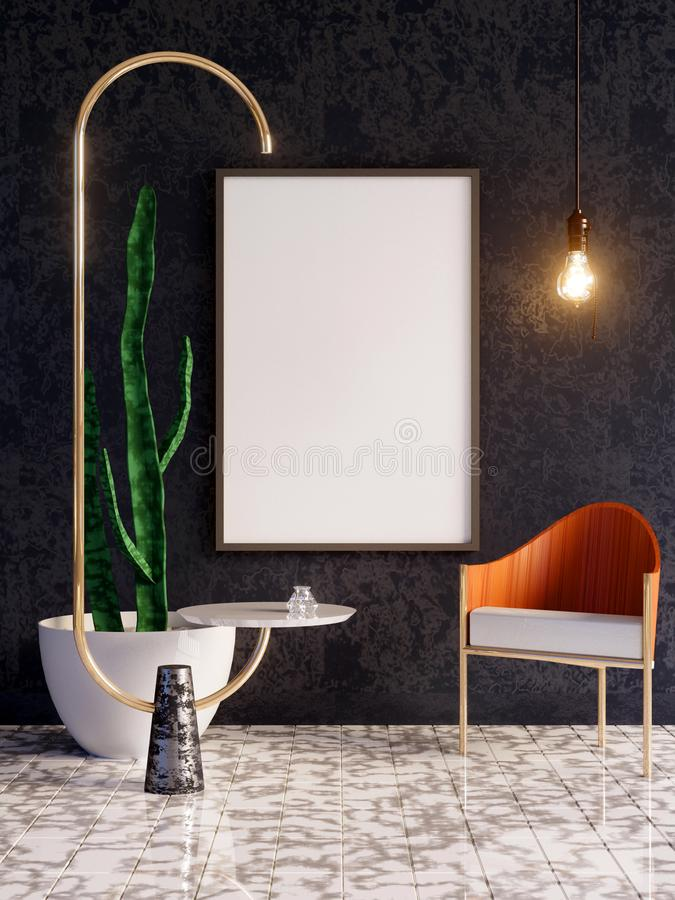 Mockup Poster in art deco style interior. 3d render. 3d illustration. Trend, up, vintage, wall, white stock images