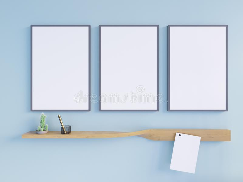 Mockup Poster in art deco style interior. 3d render. 3d illustration royalty free illustration