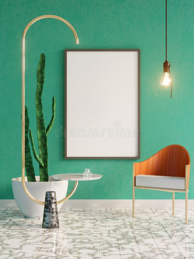 Mockup Poster in art deco style interior. 3d render. 3d illustration. Trend, up, vintage, wall, white royalty free stock photo