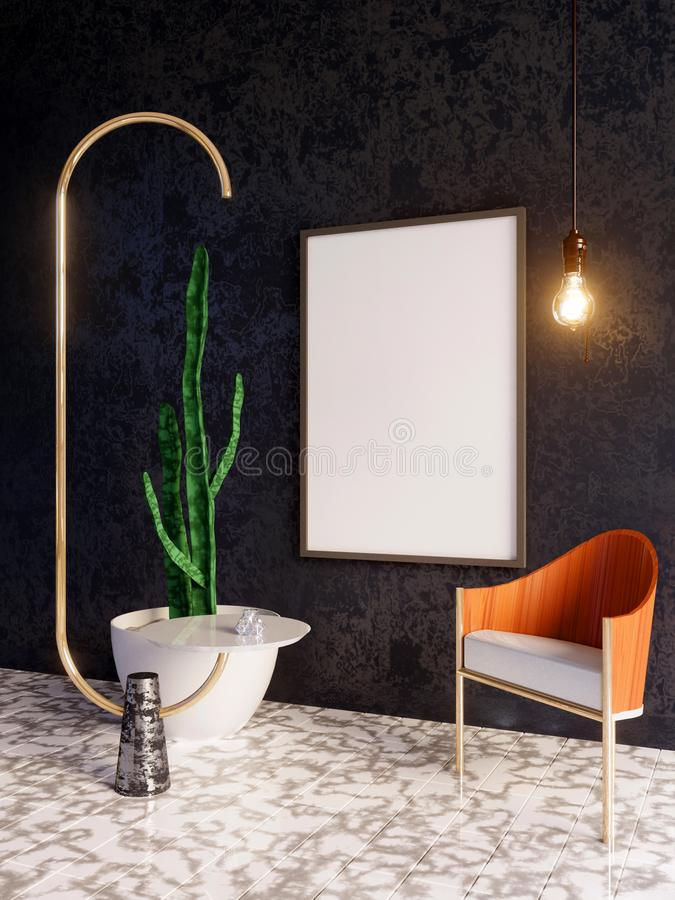 Mockup Poster in art deco style interior. 3d render. 3d illustration. Trend, up, vintage, wall, white stock photography
