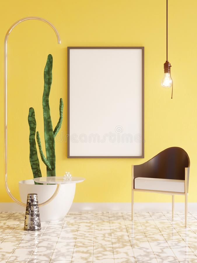 Mockup Poster in art deco style interior. 3d render. 3d illustration. Trend, up, vintage, wall, white royalty free stock photos