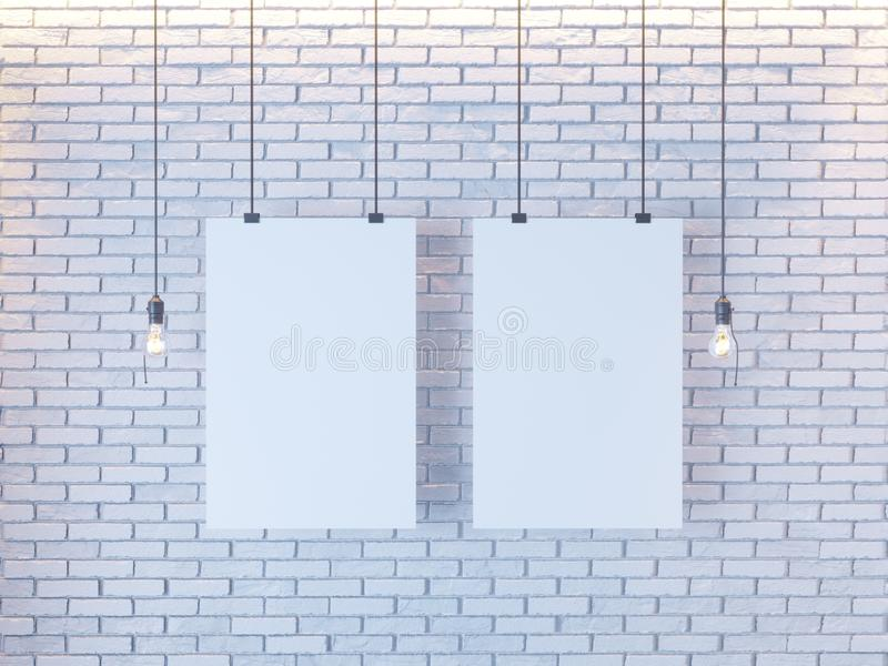 Mockup Poster in art deco style interior. 3d render. white brick wall. illustration. Vintage, wall, white, wires stock image