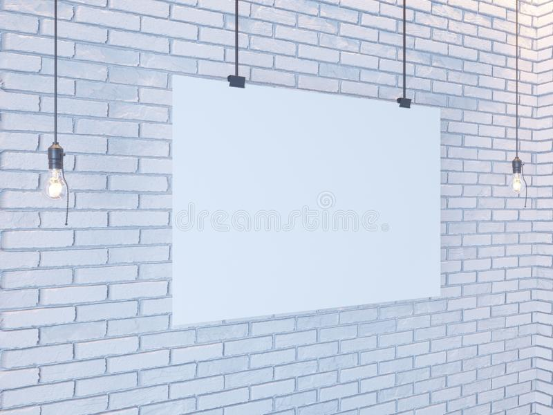 Mockup Poster in art deco style interior. 3d render. white brick wall. illustration stock photo