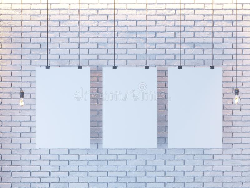 Mockup Poster in art deco style interior. 3d render. white brick wall. illustration. Vintage, wall, white, wires royalty free stock photos