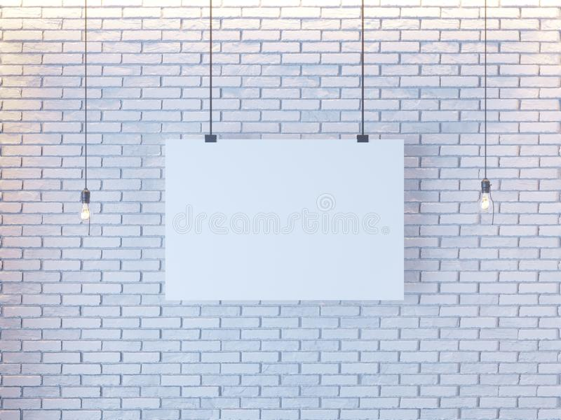 Mockup Poster in art deco style interior. 3d render. white brick wall. illustration. Vintage, wall, white, wires stock photo