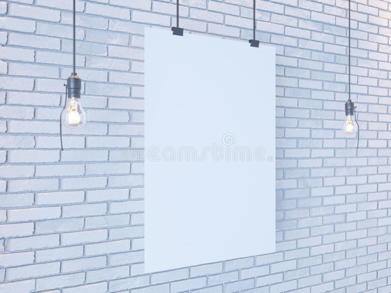 Mockup Poster in art deco style interior. 3d render. white brick wall. illustration. Vintage, wall, white, wires stock photography