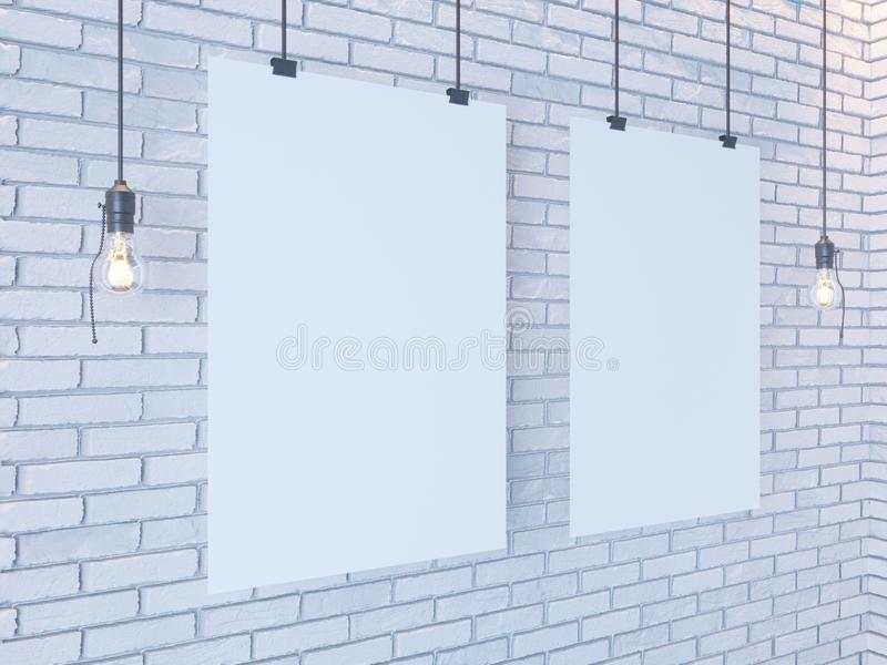 Mockup Poster in art deco style interior. 3d render. white brick wall. illustration. Vintage, wall, white, wires royalty free stock image