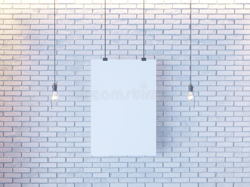 Mockup Poster in art deco style interior. 3d render. white brick wall. illustration. Vintage, wall, white, wires stock images
