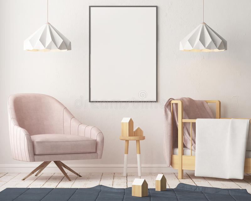 Mockup poster in the children`s room in pastel colors. Scandinavian style. 3d illustration. Mockup poster in the children`s room in pastel colors. Scandinavian stock illustration