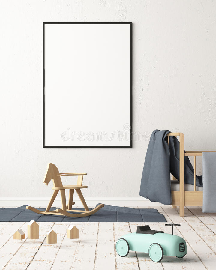 Mockup poster in the children`s room in pastel colors. Scandinavian style. 3d illustration. royalty free illustration