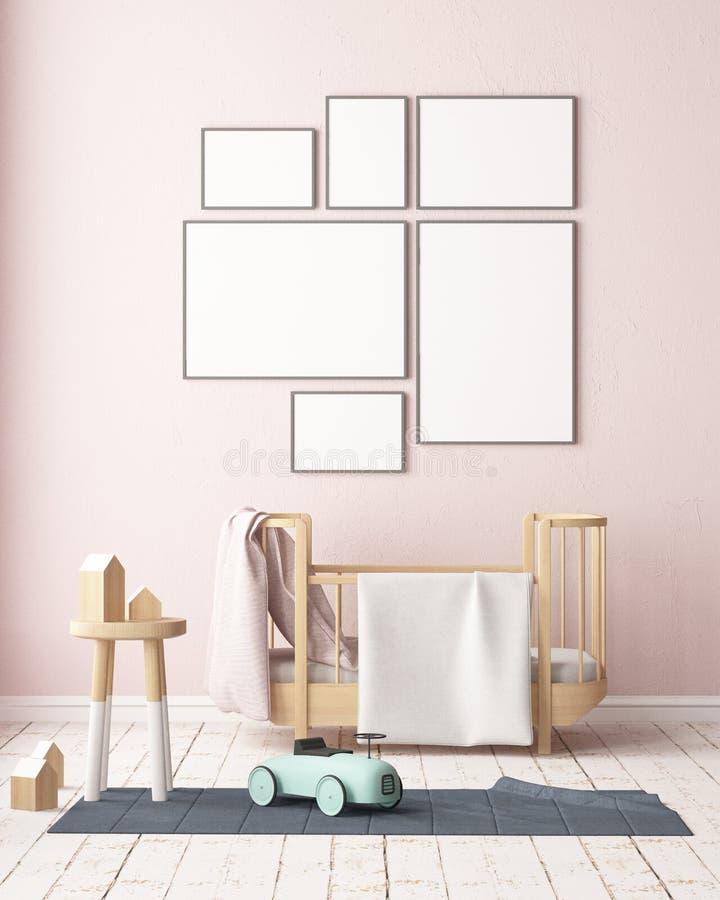 Mockup poster in the children`s room in pastel colors. Scandinavian style. 3d illustration. Mockup poster in the children`s room in pastel colors. Scandinavian vector illustration